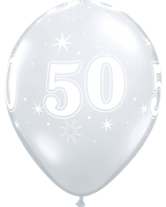50 Sparkle Crystal Diamond Clear (Transparent) Latexballon Rund 11in/27.5cm