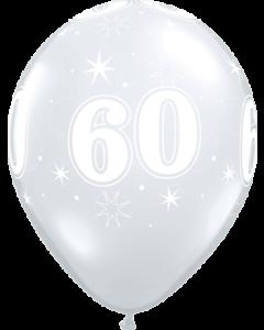60 Sparkle Crystal Diamond Clear (Transparent) Latexballon Rund 11in/27.5cm