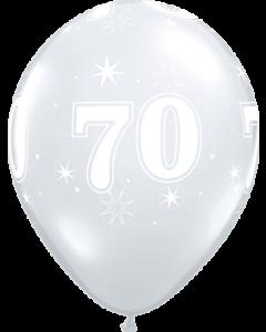 70 Sparkle Crystal Diamond Clear (Transparent) Latexballon Rund 11in/27.5cm