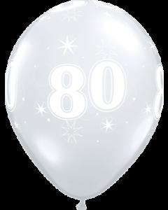 80 Sparkle Crystal Diamond Clear (Transparent) Latexballon Rund 11in/27.5cm