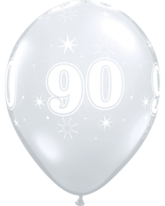 90 Sparkle Crystal Diamond Clear (Transparent) Latexballon Rund 11in/27.5cm