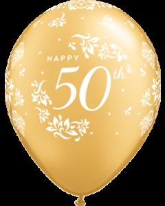 50th Anniversary Damask Metallic Gold Latexballon Rund 11in/27.5cm