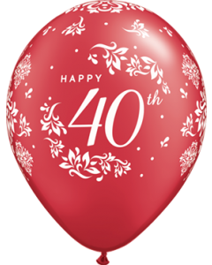 40th Anniversary Damask Pearl Ruby Red Latexballon Rund 11in/27.5cm