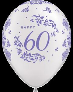 60th Anniversary Damask Pearl White Latexballon Rund 11in/27.5cm