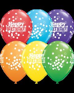 Birthday Confetti Dots Retail Sortiment Latexballon Rund 11in/27.5cm