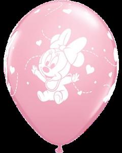 Disney Baby Minnie Hearts Standard Pink Latexballon Rund 11in/27.5cm