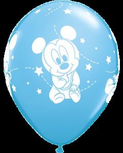 Disney Baby Mickey Stars Standard Pale Blue Latexballon Rund 11in/27.5cm
