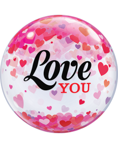 Love You Confetti Hearts Single Bubble 22in/50cm