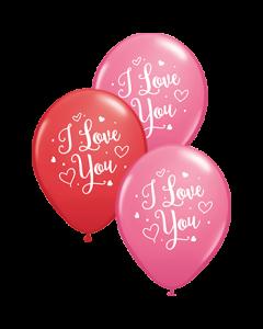 I Love You Hearts Script Standard Red und Fashion Rose Sortiment Latexballon Rund 11in/27.5cm