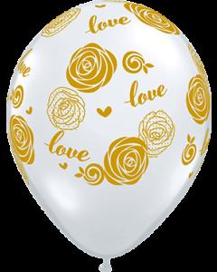Love Roses Crystal Diamond Clear (Transparent) Latexballon Rund 11in/27.5cm