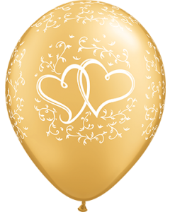 Entwined Hearts Metallic Gold Latexballon Rund 11in/27.5cm