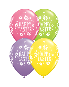 Easter Bunnies and Daisies Spring Sortiment Latexballon Rund 11in/27.5cm
