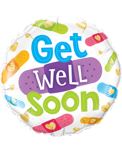 Get Well Soon Bandages Folienform Rund 18in/45cm