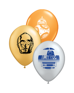 Star Wars Droids Sortiment Standard Orange, Metallic Silver und Metallic Gold Sortiment Latexballon Rund 5in/12.5cm