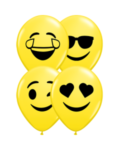 Smiley Faces Sortiment Standard Yellow Latexballon Rund 5in/12.5cm