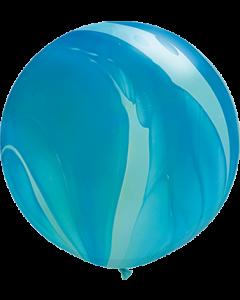 Blue Rainbow SuperAgate Latexballon Rund 30in/75cm