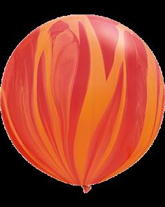Red Orange Rainbow SuperAgate Latexballon Rund 30in/75cm
