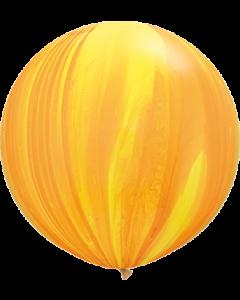 Yellow Orange Rainbow SuperAgate Latexballon Rund 30in/75cm