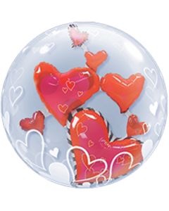 Lovely Floating Hearts Double Bubble 24in/60cm