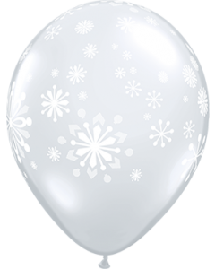 Contemporary Snowflakes Crystal Diamond Clear (Transparent) Latexballon Rund 11in/27.5cm