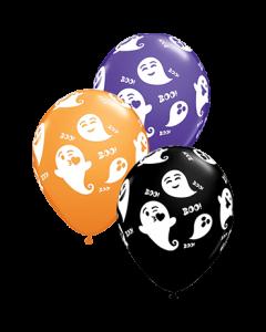Emoticon Ghosts Standard Orange, Fashion Onyx Black und Fashion Purple Violet Sortiment Latexballon Rund 11in/27.5cm
