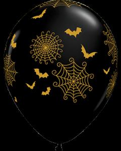 Spider Web and Bats Fashion Onyx Black Latexballon Rund 11in/27.5cm