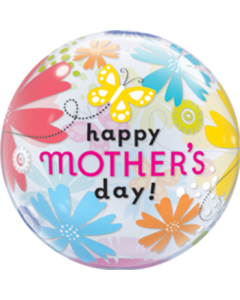 Mother's Day Butterfly Floral Single Bubble 22in/55cm