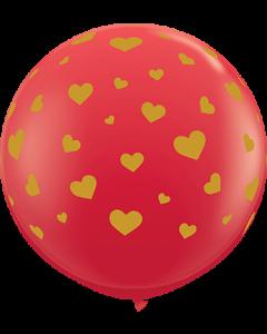 Random Hearts Standard Red Latexballon Rund 36in/90cm