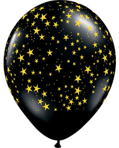 Stars w/Gold Ink Fashion Onyx Black Latexballon Rund 11in/27.5cm