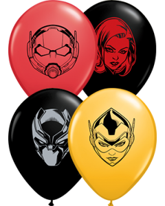 Marvel's Characters Faces Fashion Goldenrod, Standard Red und Fashion Onyx Black Sortiment Latexballon Rund 5in/12.5cm