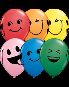 Smiley Faces Standard Sortiment Latexballon Rund 11in/27.5cm