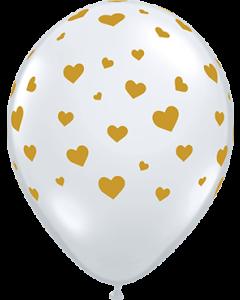 Random Hearts Crystal Diamond Clear (Transparent) Latexballon Rund 11in/27.5cm