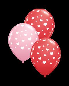 Random Hearts Standard Red und Standard Pink Sortiment Latexballon Rund 11in/27.5cm