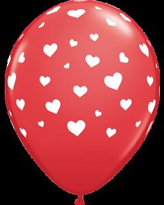 Random Hearts Standard Red Latexballon Rund 11in/27.5cm