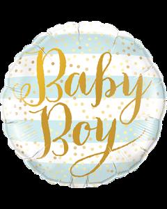 Baby Boy Blue Stripes Folienform Rund 18in/45cm