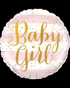 Baby Girl Pink Stripes Folienform Rund 18in/45cm