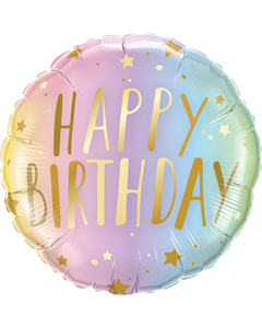 Birthday Pastel Ombre und Stars Folienform Rund 18in/45cm