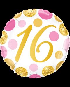 16 Pink und Gold Dots Folienform Rund 18in/45cm