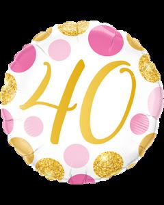 40 Pink und Gold Dots Folienform Rund 18in/45cm