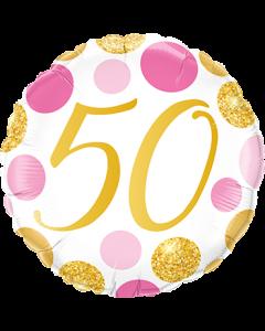 50 Pink und Gold Dots Folienform Rund 18in/45cm