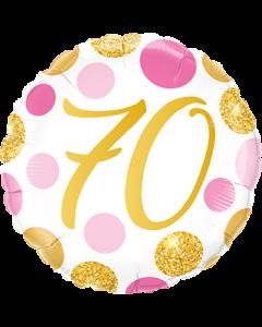 70 Pink und Gold Dots Folienform Rund 18in/45cm