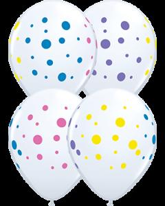 Colourful Dots Standard White Latexballon Rund 11in/27.5cm