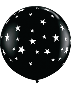 Contempo Stars Fashion Onyx Black Latexballon Rund 36in/90cm