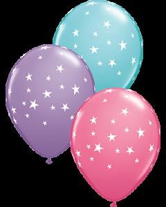 Contempo Stars Fashion Spring Lilac, Fashion Rose und Fashion Caribbean Blue Sortiment Latexballon Rund 11in/27.5cm