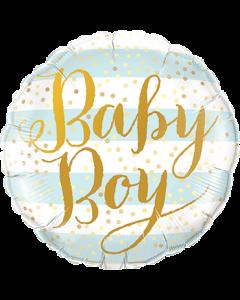 Baby Boy Blue Stripes Folienform Rund 9in/22.5cm