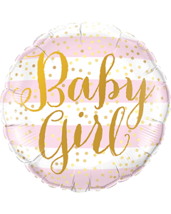 Baby Girl Pink Stripes Foleinform Rund 9in/22.5cm