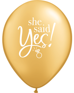 She Said Yes! Metallic Gold Latexballon Rund 11in/27.5cm