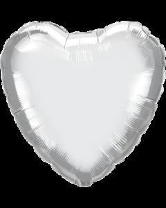 Chrome Silver Folienform Herz 18in/45cm