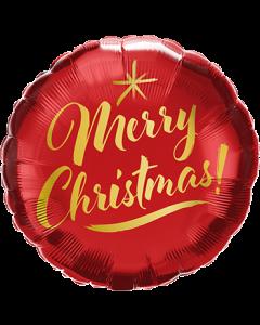 Christmas Gold Script Red Folienform Rund 18in/45cm