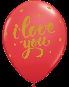 I Love You Bold Script Standard Red Latexballon Rund 11in/27.5cm